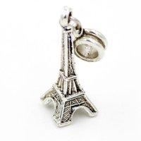 Wholesale NEW Women Jewelry Eiffel Tower Charms Silver Original Beads European Charm Bead Fit Ancient Bracelets Bangle JPP10