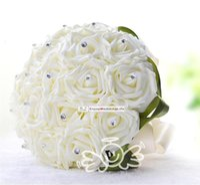 Cheap 2015 New Wedding Dec Bridal Bouquet Rose Silk Pearls Handmade Bridesmaid Flowers Posy Bridal Hand Hold Flowers WYF107