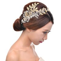 Wholesale Vintage wedding combs Rhinestone Crystal handmade gold leaf shape wedding dress bridal headdress hair accessories jewelry
