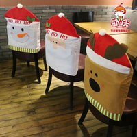 Wholesale Santa Claus Snowman Elk Hat Chair Back Cover Dinner Decoration Cap Set For Christmas Xmas Decorations Home Party Holiday Festive Red