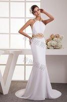 floor length satin dress - White crystal mermaid floor length satin Bridesmaid Dress Halter Chiffon front slit backless wedding wear evening formal prom dress L_Z