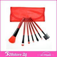 Wholesale 7pcs Professional Soft Cosmetic Makeup Brush Set Blush Brush Pouch Bag Case Red