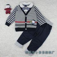 children clothings - 2015 Spring New Arrivals High quality boys cartoon striped suit shirt tie long pants piece suits children clothings C001