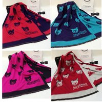 Wholesale New fashionable women scarf little bear print cashmere blanket scarf pashmina shawl spring and winter scarves and shawls