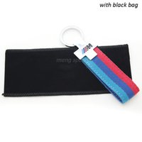 acura key ring - Interior Accessories Key Rings Mtech M3 Blue Red Canvas Metal Car Keyring Key Chain with Black Bag