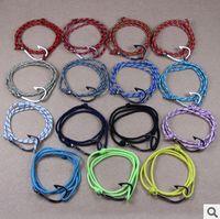 adjustable hook - 20pcs New Unique Colors Wrap Nautical Anchor Fish Hook Adjustable Rope Bracelets Jewelry
