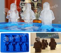 Wholesale Figurine Ice Mold Robot Trays Cube Stylus Silicone Lego Man Style Chocolate Candy Soap Candle Jello Crayons Shaped Lattice Free DHL Factory