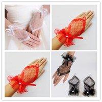 Wholesale Cheap Short Black Gloves - Wedding Gloves White Red Black Gloves Bridal Gloves 2015 Tulle Lace Diamond Bow Cheap Short Gloves 12cm W6466