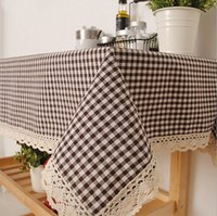 Wholesale NEW Brown Checked Linen Cotton Tablecloths Restaurant Coffee Shop Table Linen Heavy Think Durable Fabric Sizes Available J2
