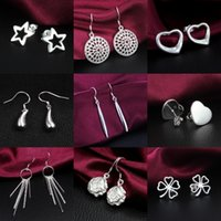 Wholesale Hot Mix style Silver jewelry Charming women girls Dangle Earrings Pairs Multi Choices Earrings Best gift Factory Price