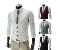Wholesale Formal Men s Waistcoat Fashion Groom Tuxedos Wear Bridegroom Vests Casual Slim single breasted cotton blend Vest colors M XXL