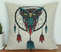 Wholesale Home Decorative Pillow Cover Linen Vintage Cotton Linen Dream Catcher Owl printed cushion case cm cm pc