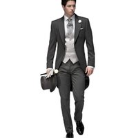 Wholesale 2016 Tailored Elegant Bridegrom Gray morning suit Wedding tuxedo for men groomwear pieces suits set jacket pants vest