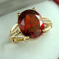 antique ruby ring gold - 18K GOLD GF HUGE ANTIQUE RUBY DIAMONDS WEDDING WOMENS SOLID RINGS SZ R261