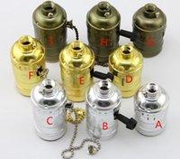 Wholesale 100 quality vintage E27 aluminum zipper switch lamp holder socket brass golden silver black apply in edison bulb pendant light