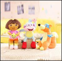 wholesale dora - 3 Styles Dora the Explorer CM DORA Boots Monkey Fox Plush Dolls Toy Children Birthday Gifts puzzle cartoon baby toys J122903 EMS