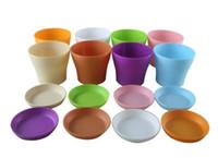 Wholesale 7 Colors quot quot Inch Height Adorable Plastic Flower Seedlings Nursery Pot Planter Flower Pot with Pallet Great For Garden E496E