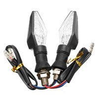 Wholesale High quality pair of Universal V W LED Yellow Light Motorcycle Turn Signal Indicators Lights lamp left Right
