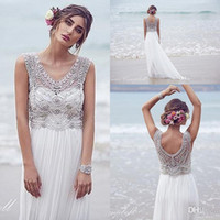 Wholesale 2016 New Cheap Anna Campbell Empire Wedding Dresses V Neck Crystal Beaded Sheer Summer Beach Chiffon Long Plus Size Formal Bridal Gowns