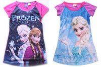 nighties - 42pcs Frozen Elsa girl girls sleeveless nightie dress nightgowns nightie cotton sleepwear PJS kids cartoon pajamas HL
