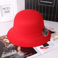 Wholesale New Fashion Flower Solid Color Bucket Hats Caps Cotton Cashmere Fedoras Sun Protection Hat for Women