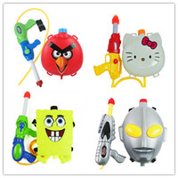 Wholesale Hello kitty Spongebob backpack type air pressure water gun toys Pistol Fun Sports Summer Beach Shooting Squirt Nerf Water Bullet baby toys