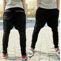 jogging pants - 2015 New Fashion men s baggy low crotch Haren pants cotton Long sports pant jogging pant sweatpants trousers black gray A669