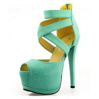 Wholesale Roman Cross Strap Women Pumps High Platform Candy Color OL High Heel Shoes Sexy Peep Toe Sandals