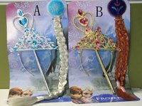 Wholesale High quality Frozen Ornaments Frozen Magic Wand Rhinestone Crown Hairpiece Girls Wig Children Party Accessories popular gift