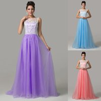 Wholesale Crochet Models - Grace Karin 7 Colors Sweetheart Neckline Long Tulle Bridesmaid Gown with Lace Crochet Formal Evening Dresses CL6108