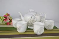 Acheter Thé floraison gros en chine-Vente en gros 7pcs chinois en céramique Gongfu Puer Set de thé 1 Bone China Théière 6 Porcelaine Tea Cup fleur de lotus de peinture Nouveau Design