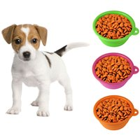 Wholesale Dog Cat Pet Portable Silicone Collapsible Travel Feeding Bowl Water Dish Feeder Free shippng