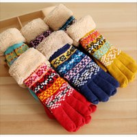 Wholesale New Bohemian Style Fashion Girl Gloves Winter Double Layered Warm Five Fingers Gloves Soft Crochet Gloves Colors