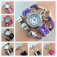 Pulseras Infinity reloj de la manera brazaletes de cuero Relojes Corazón a Corazón de cuarzo reloj de pulsera de la gota de la caja Relojes Ronda para las mujeres