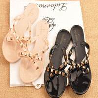 Wholesale Valentine Brand Designer Flip Flops Women Flat Female Slippers Summer Shoes With Rivets Studded Bow Bowti Sandals women