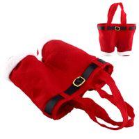 Wholesale Red Cute Christmas Decoration Holiday Party Wedding Xmas Santa Pants Gift Bags Creative Santa Pants Gift Bags
