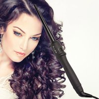 Cheap Tourmaline Ceramic Cone Hair Curling Wand Rollers (9-19mm) 110-240V Dual Voltage Hair Styling Tool LCD Display