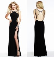 Wholesale 2015 Sexy Split Side Black Backless Evening Dresses Sheer Neck Crew Beaded Sequins sleeveless Floor Length Chiffon Sheath Prom Dresses