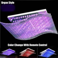 arts organs - Modern Crystal Chandelier LED Color Change With Remote Control Organ Style RGB Lustre Ceiling Lamp Art Deco Pendant Chandeliers