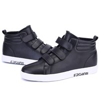 velcro - Cool Fashion Quality Leather High Tops Casual Shoes Sneakers Mens Velcro Straps Skateboard Shoes Hip Hip Rocky Shoes Ankle Boots Flats New