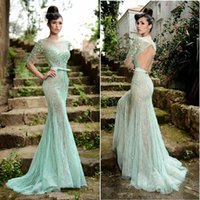 boat t shirts - rami salamoun dresses spring boat neck prom dresses mermaid backless pageant gown crystal beaded mint tulle long sleeve evening dresses