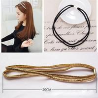 asian hair pieces - Black Golden Elastic Headband Head Piece Hair Band Hairband Jewelry for Women Girl Lady FS028