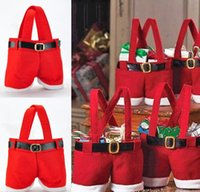 best stock packing - Hot New Creative Cute Small Red Christmas Santa Pants Gift Bag pack Lovely Decoration Best Gift Supplies Handmade hot sales