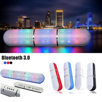 Wholesale 2016 New Pulse Pills Led Flash Lighting JHW V318 Portable Wireless Bluetooth Speaker Bulit in Mic Handsfree speakers Support FM USB