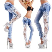 Wholesale Women Jeans Patchwork Lace Floral Skinny Jeans Hollow out Casual trousers women Denim Pencil Pant High Waist sexy Pants Gl479
