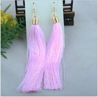 Wholesale Min order is mix order With black should realize the original peach tassel chain earrings female EH