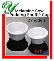 Wholesale Pudding cups souffle ramekins mold dipping saucers bowl container basin melamine white strips dessert serving buffet plastic plates dish