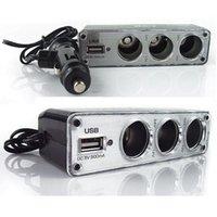 Wholesale 3 Way Car Cigarette Lighter Socket Splitter Charger Power Adapter DC V USB