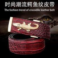 Wholesale New arrival Men Belts antique Genuine Leather Top crocodile buckle top alligator design