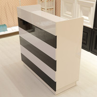 Wholesale C wood clothing store checkout counter fashion simple black and white bar welcome reception information desk